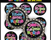 School Rocks Bottle Cap Images - 4X6 Digital Collage Sheet - BottleCap 1 Inch Circles for Pendants, Hair Bows, Magnets, Badge Reels