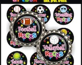 Sports Rocks Bottle Cap Images - 4x6 Digital Jpeg File Collage Sheet - BottleCap One Inch Circles for Pendants, Hair Bows, Badge Reels
