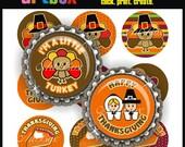 BOTTLE CAP IMAGES - Happy Thanksgiving - 4X6 Digital Collage Sheet - BottleCap 1 Inch Circles for Pendants, Hair Bows, Badge Reels, Magnets