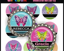 Editable Beautiful Butterflies Bottle Cap Images - 4x6 Digital JPEG Collage Sheet - 1 Inch Circles for Badge Reels, Hair Bows, Pendants
