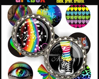Rainbowlicious Bottle Cap Images - Three (3) 4X6 Digital Collage Sheets - BottleCap 1 Inch Circles for Pendants, Hair Bows, Badge Reels
