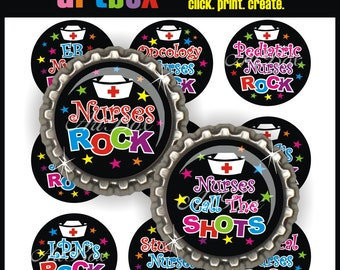 Nurses Rock Bottle Cap Images - Printable 4X6 Digital Collage Sheet - BottleCap 1 Inch Circles for Pendants, Hair Bows, Magnets, Badge Reels