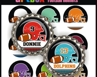 Editable Football Helmets Bottle Cap Images - 4x6 Digital JPEG BottleCap Collage Sheet - 1 Inch Circles for Pendants, Magnets, Hair Bows