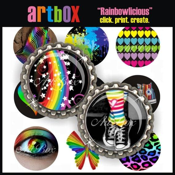Rainbowlicious Bottle Cap Images - Three (3) 4X6 Digital Collage Sheets - BottleCap 1 Inch Circles for Pendants, Hair Bows, Badge Reels