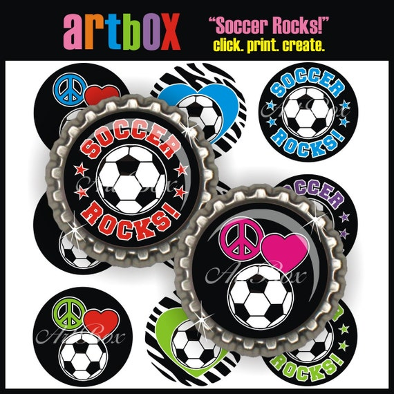 Soccer Rocks Bottle Cap Images - 4x6 Digital JPEG BottleCap Collage Sheet - 1 Inch Circles for Pendants, Hair Bows, Magnets, Key Chains