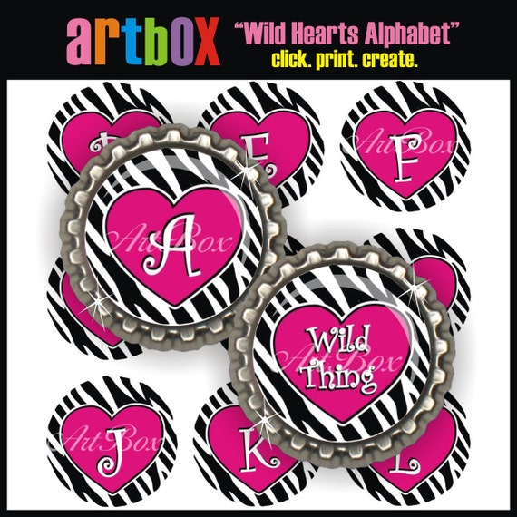 Wild Hearts Alphabet Bottle Cap Images - (2) 4x6 Digital JPEG BottleCap Collage Sheets - 1 Inch Circles for Badge Reels, Pendants, Magnets