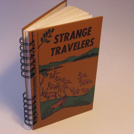 1960 STRANGE TRAVELERS Handmade Journal Vintage Upcycled Book