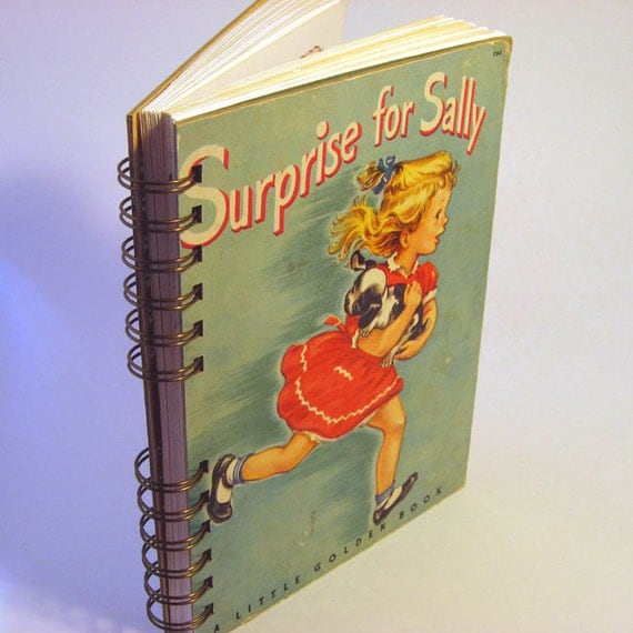 "1950 SURPRISE FOR SALLY Handmade Journal Vintage Upcycled Book Sketchbook - ""Surprise For Sally and Other Stories"" Vintage Little Golden Boo"