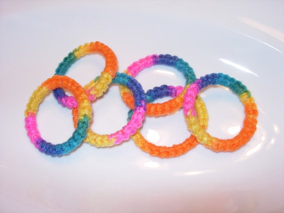 Items similar to crochet ring cat toys bright set of 6 on for How to crochet cat toys