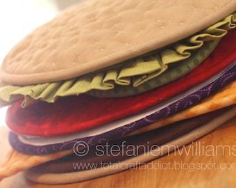Build-A-Burger Quilted Potholder Hot Pad Set PDF Pattern