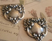 Jewelry Findings Lot of 2 Antique Silver Fancy Tag Stampings Bacchus Vineyard