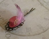 Steampunk Style Pretty Pink Top Hat Bobby Pin