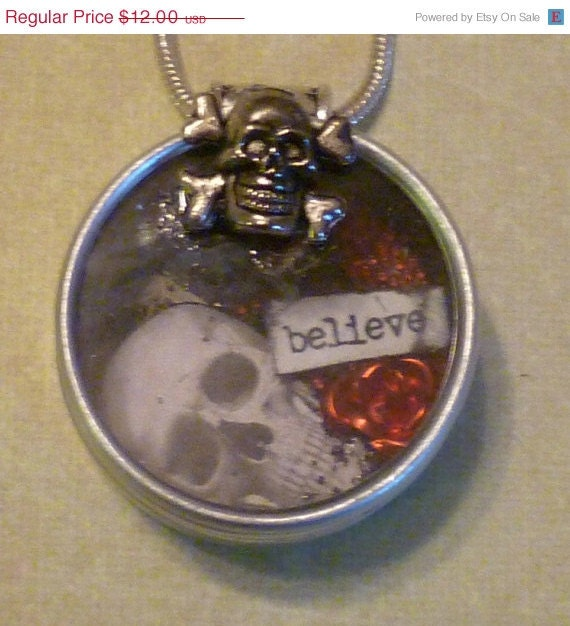 ON SALE Believe Skull Rose Shaker in a Vintage Watch Tin Necklace