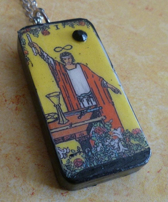 The Magician Tarot Card Altered Domino Necklace