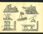 3 Antique Prints of Military Artillary 1800's