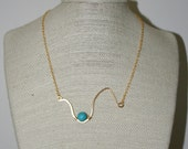 Turquoise and Hammered Gold Necklace, Unique, OOAK : Reduced
