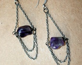 Amethyst Nugget and Antique Silver Chandelier Earrings