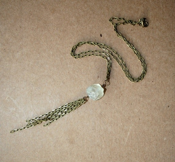 Raw Crystal Fluorite Nugget and Antique Brass Necklace