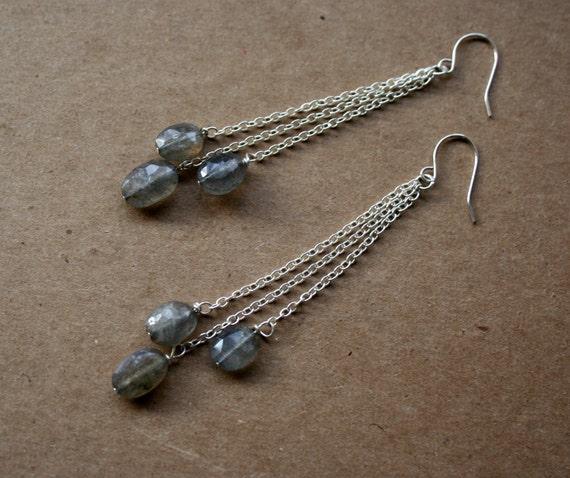 Labradorite and Silver Dangle Earrings