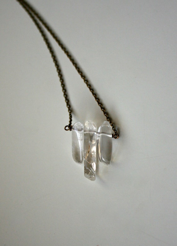 Raw Crystal and Bronze Necklace