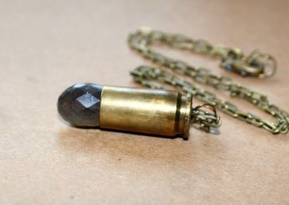 Bullet Casing Necklace with Labradorite Stone