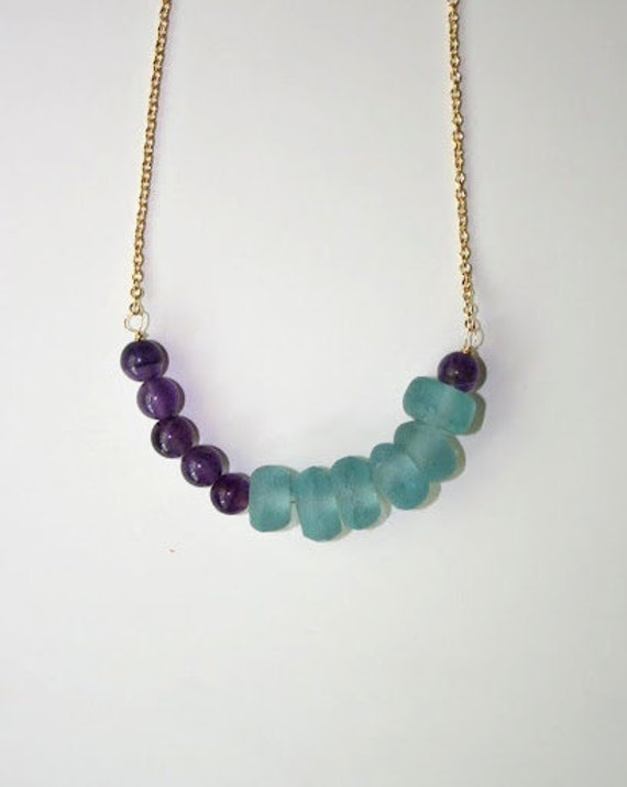 Aqua Recycled Glass, Amethyst and Gold Necklace
