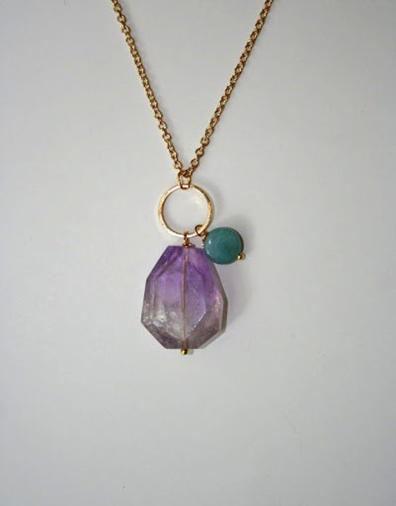 Natural Amethyst Stone, Amazonite and Gold Necklace