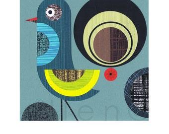 Retro, Modern,blue Bird, Print