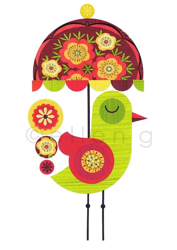 Green Bird,retro, vintage fabric, Umbrella, Print