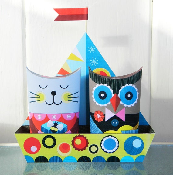 The Owl & the Pussy Cat went to Sea Paper Craft
