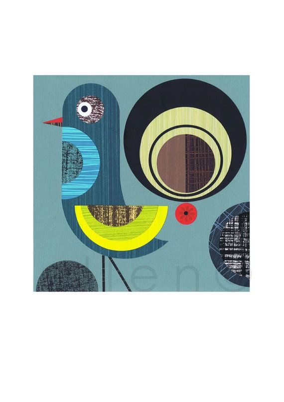Retro, Modern,blue Bird, Print
