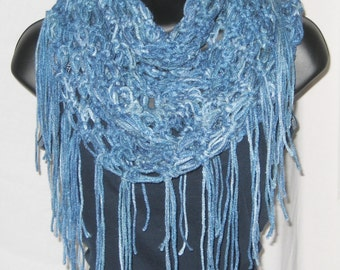 Infinity scarf,  loop scarf, round scarf, cowl, chunky scarf, scarf with fringe, blue-multi, one size fits most