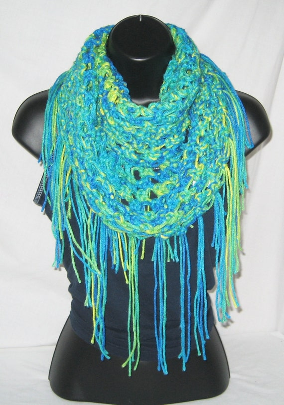 Infinity scarf, loop scarf, round scarf, cowl, scarf with fringe, green-multi one size fits most
