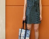 reserved....Indigo Ikat.  Hand crafted Leather Tote bag.