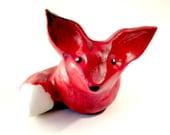 Ceramic Red Fox, Clay Fox Figure, Woodland Animal Miniature