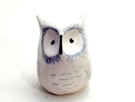 Items similar to Snowy Owl - Clay Ceramic Animal Sculpture ...