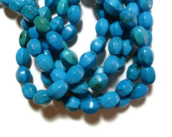 Blue Chalk Turquoise - Six Sided Barrel - Full Strand - 29 beads