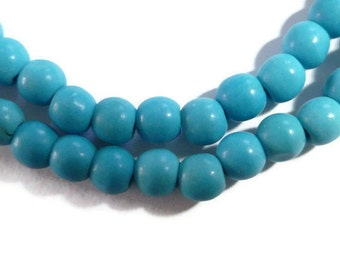 Blue Chalk Turquoise - 4mm Round - 94 beads - Full Strand