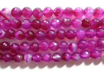 Faceted Fuchsia  Agate - 10mm Round - Full Strand - 37 beads