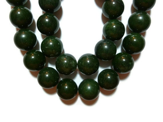 Dark Green Quartz - 12mm Rounds - Full Strand - 34 beads