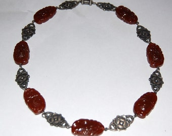 Art Deco 1920s Carved Carnelian Glass & Silver Floral Necklace