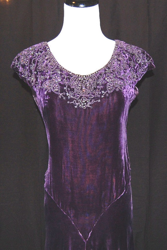 Gorgeous 20s 30s Flapper Purple Silk Velvet Rhinestone Embellished Dress & Jacket