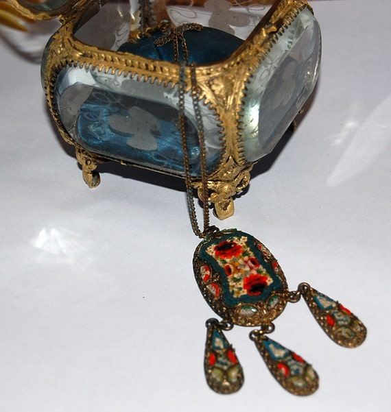 SALE-Great Early 1900s MicroMosaic Pendant Necklace