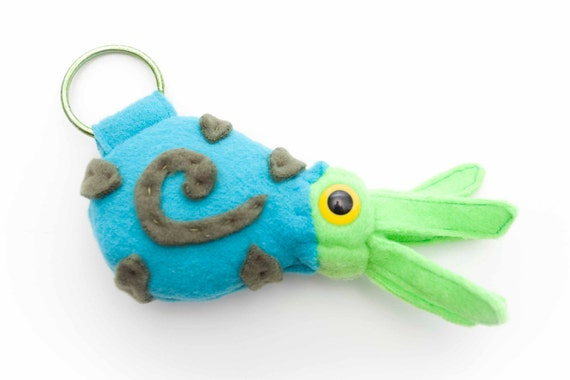 Extinct Ammonite Fossil Plush Keychain in Turquoise, Bright Green and Green