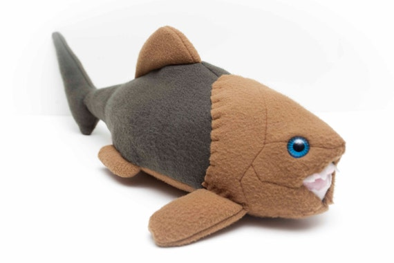 Extinct Dunkleosteus Fossil Plush in Green and Tan
