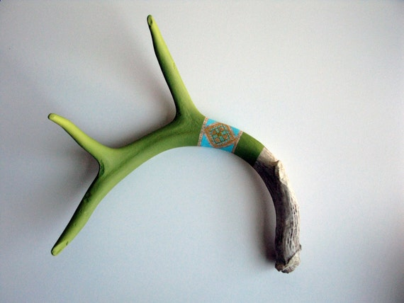Green, Yellow and Blue Patterned Antler