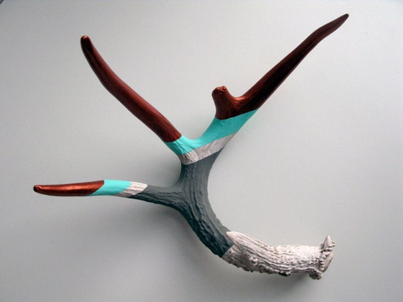 Copper, Aqua and Gray Striped Painted Antler - Large