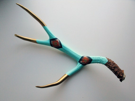 Aqua, Navy, Orange & Gold Diamond Painted Antler - Extra Large