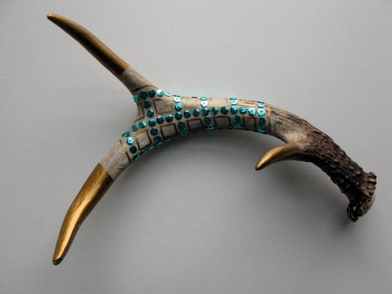 Bronze Painted & Turquoise Sequined Antler - Small