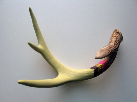 Green, Purple, Gold & Fuchsia Painted Chevron Antler - Large